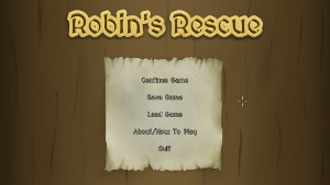 A screenshot of Robin's Rescue's main menu